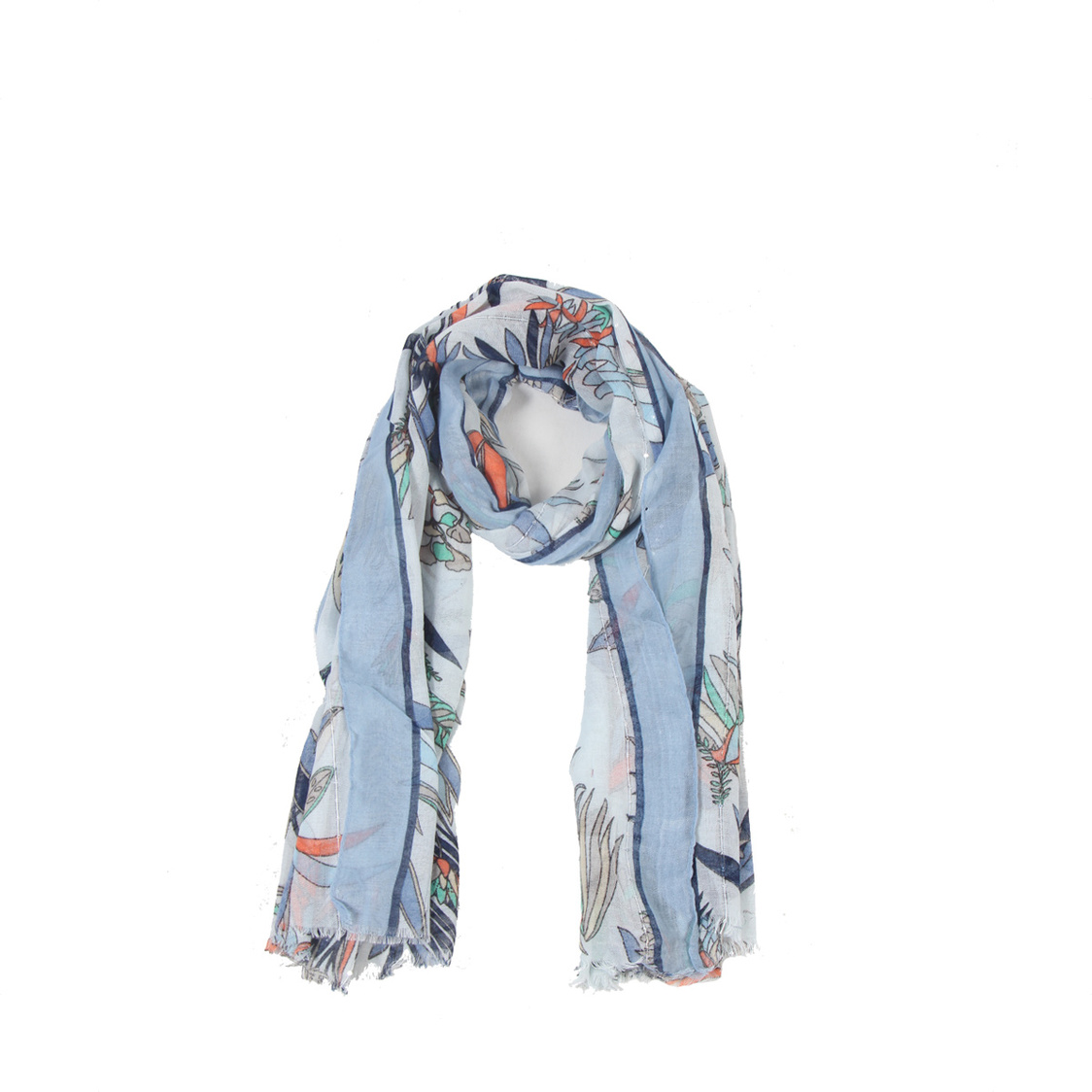Ink Blue Cotton Blend Scarf