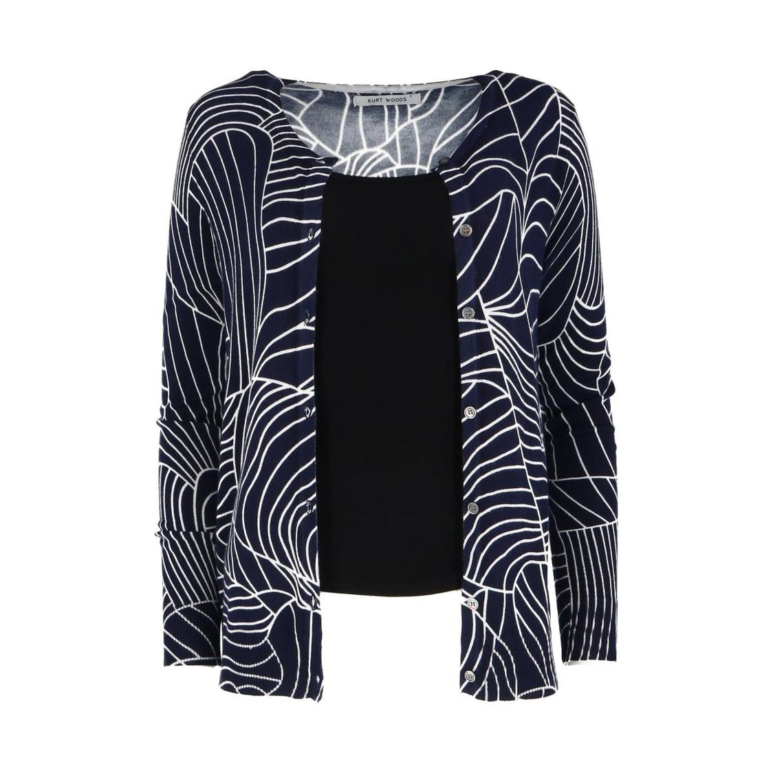 Super Soft Navy Printed Cardigan