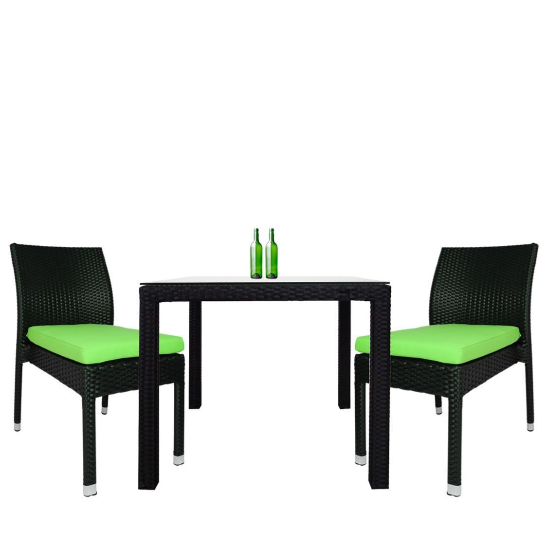 Monde 2 Chair Dining Set Green Cushion Metro Department Store