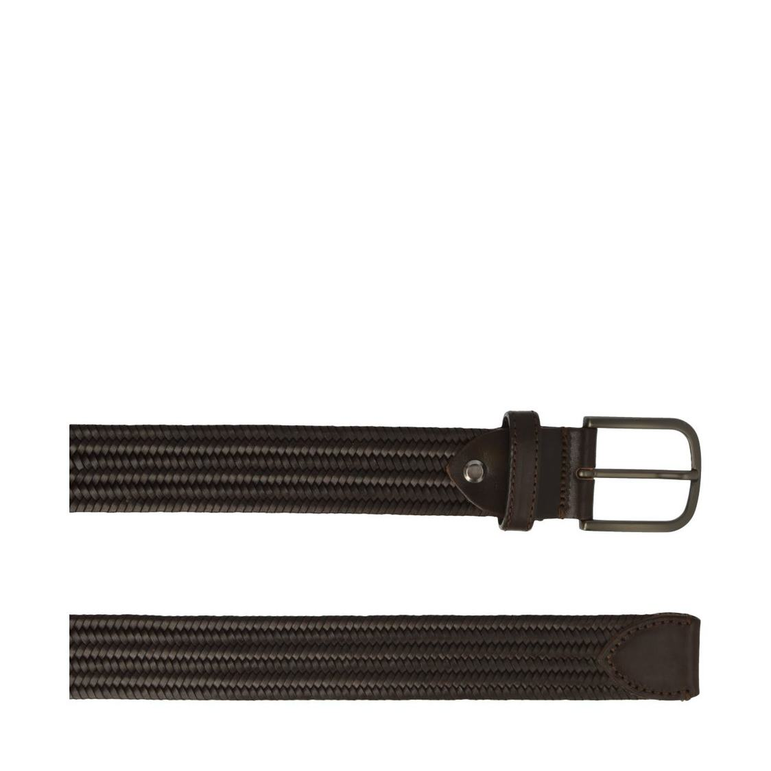 Leather Belt In Dark Brown Weave