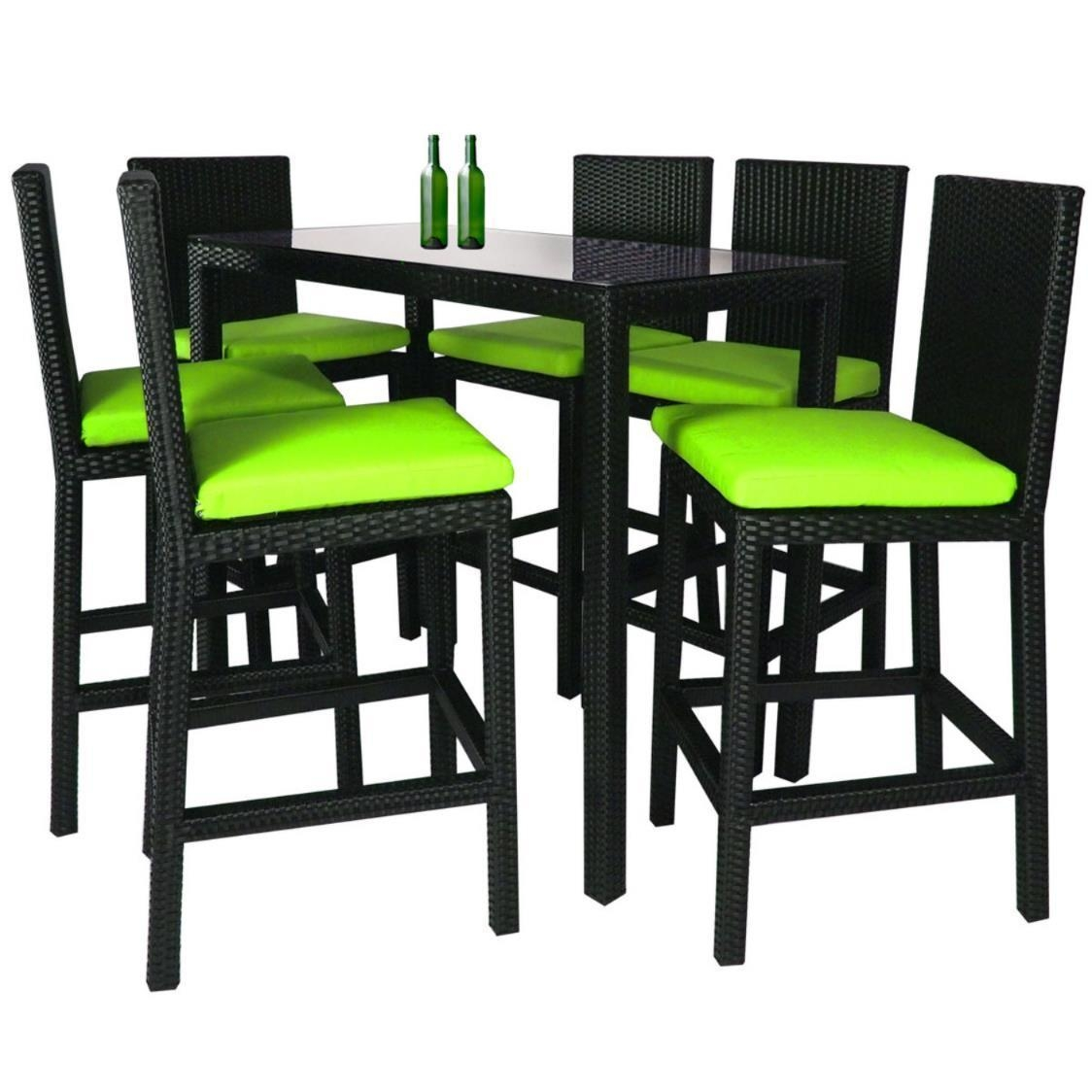 Midas Long 6 Chair Bar Set Green Cushions
