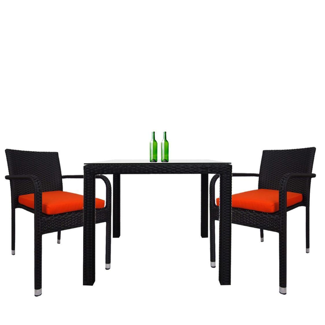 Palm 2 Chair Dining Set Orange Cushion
