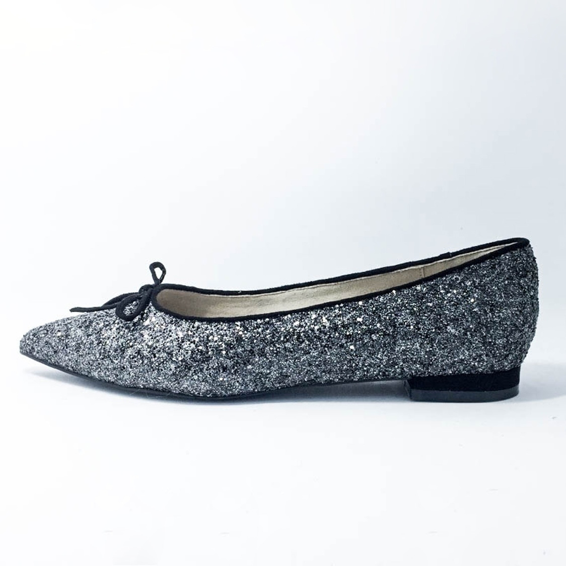 Glitter Pointed-Toe Flat Pump - Silver