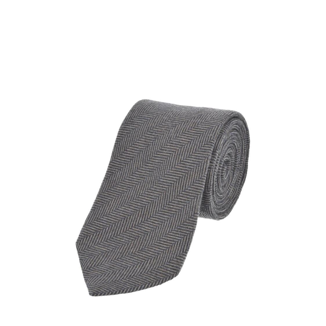 Italian Silk Ties in Grey Herringbone