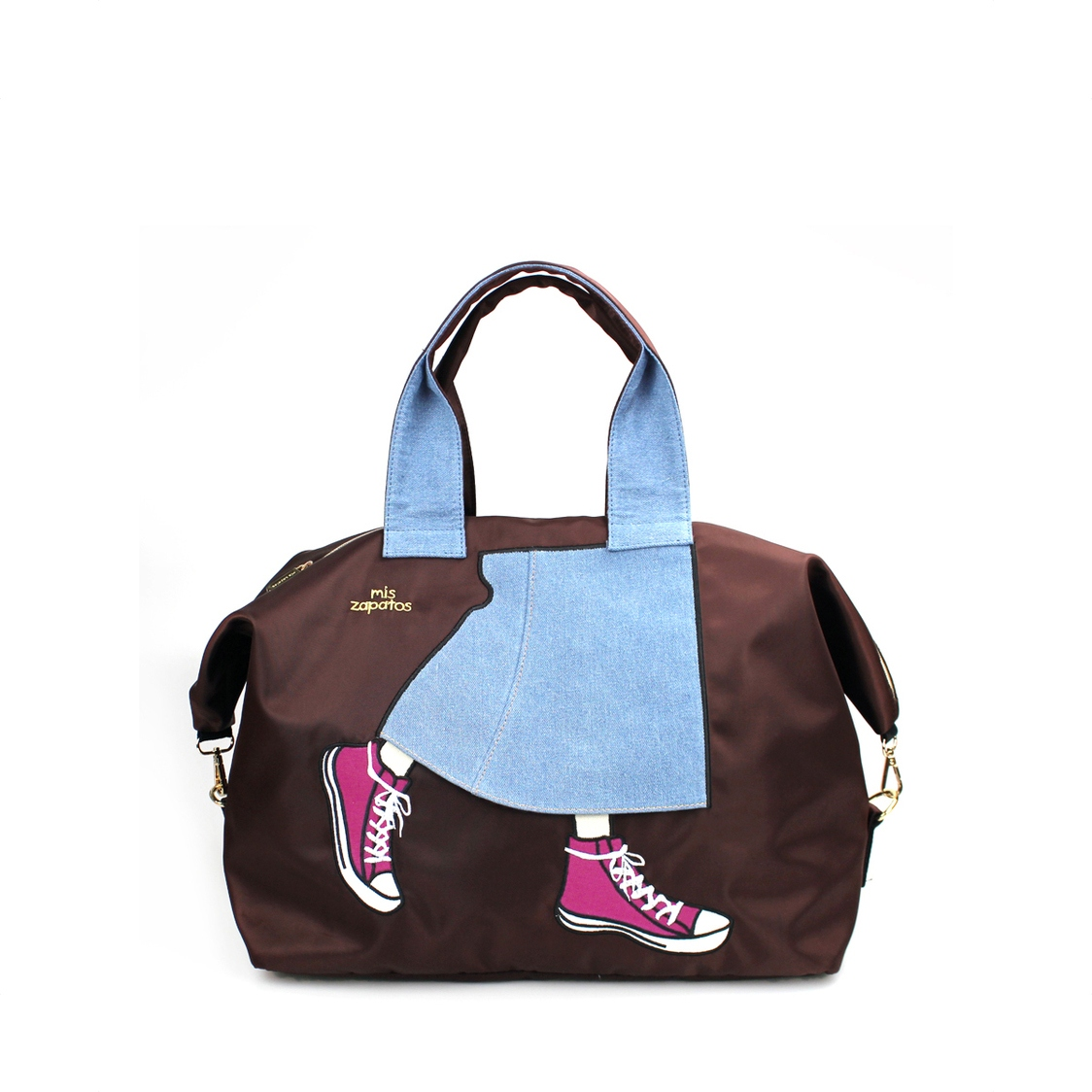 2-Way Use Jeans Skirt With Sneakers Travel Bag Brown
