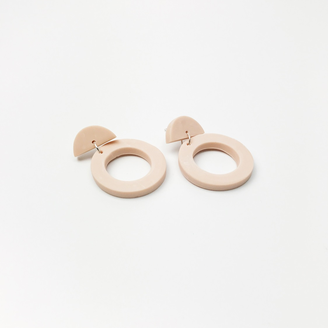 Circle Drop Earrings - Blush