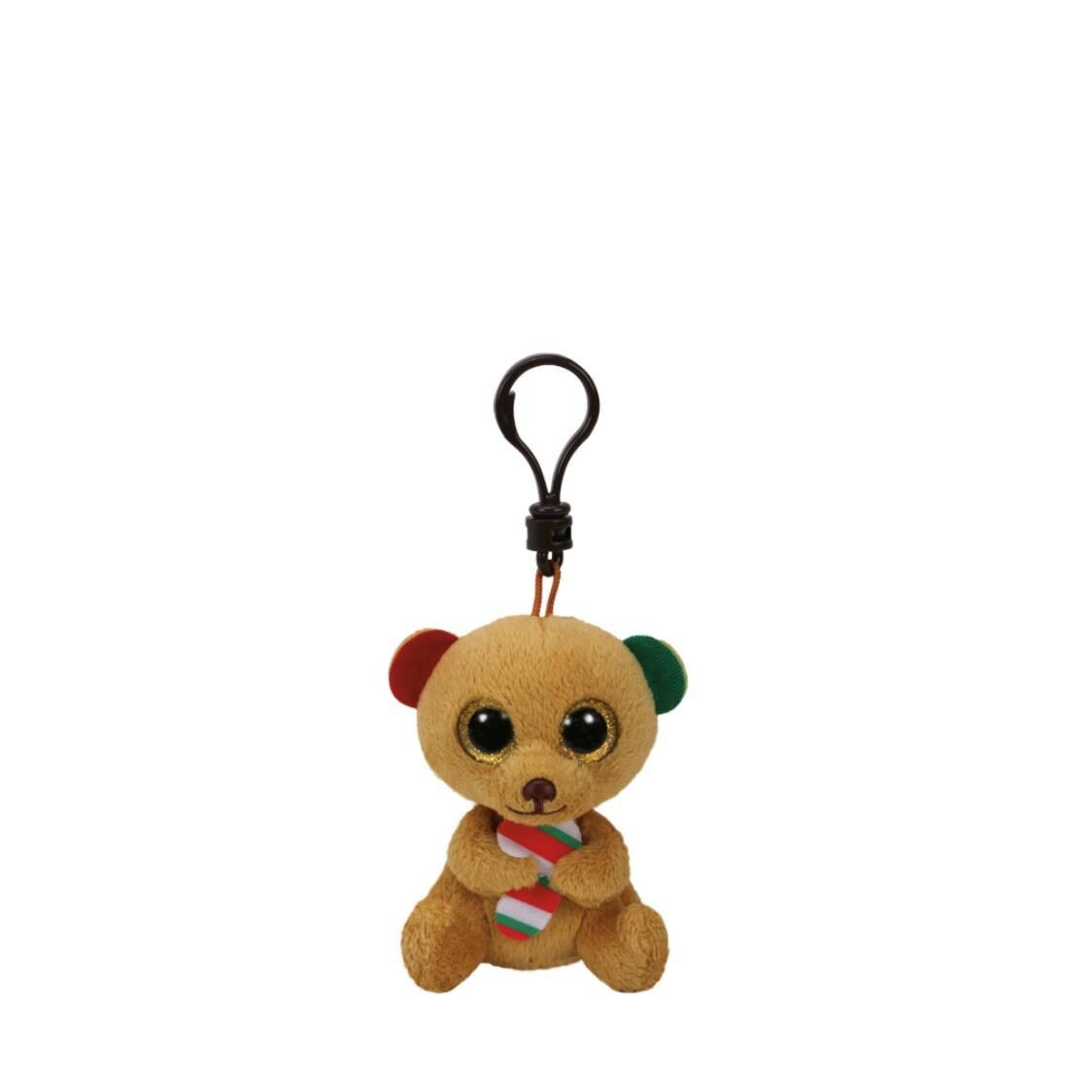 Beanie Boos Bella Brown Bear with Candy Cane Clip