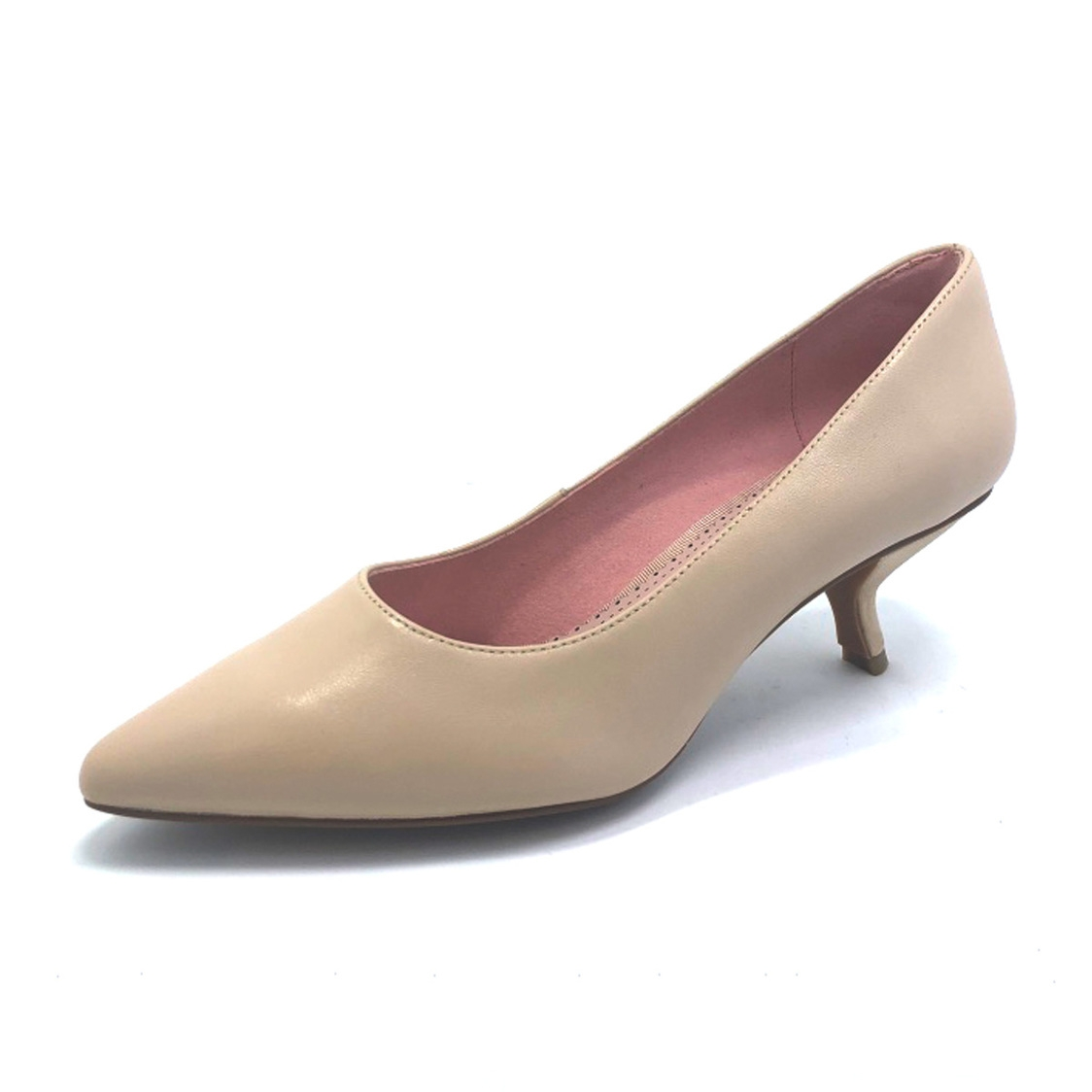 Pointy Toe Leather Courtshoes Nude Kid