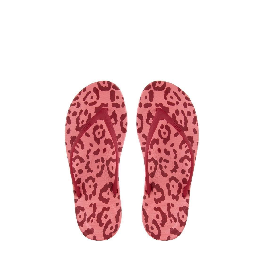 iQushion Leopard-Print Flip Flops Classic Red